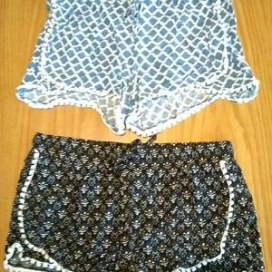 Merona shorts black and blue with white print